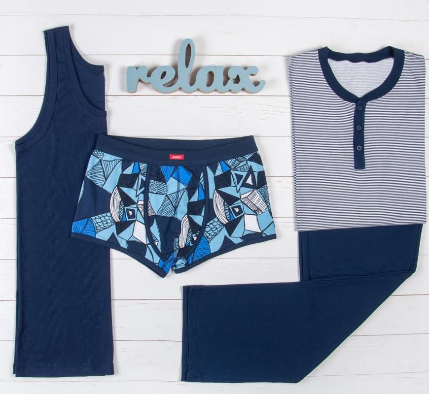Majica i donji deo za spavanje i gaće plave boje